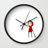 stiles Wall Clocks featuring Red Riding Hood Stiles by hellredsky