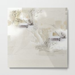 Abstract - Tranquility 3 - Soft Neutral Color Collage - Mixed Media Metal Print
