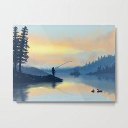 Lake fishing Metal Print