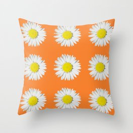 Retro Daisy · Orange Throw Pillow