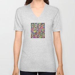 Ikat Floral Unisex V-Neck