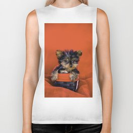 Tiny Yorkie Puppy Sitting in a Red & Black Basket surrounded with Christmas Red Fabric Biker Tank