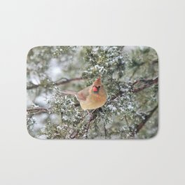 Frosty Female Cardinal Bath Mat