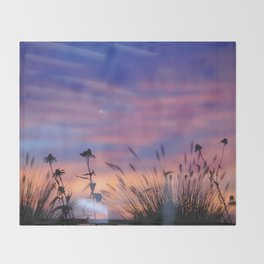 LOOK OUTSIDE - Flowers & Sunset #1 #art #society6 Throw Blanket