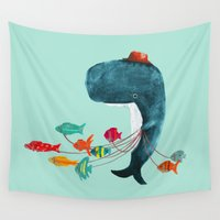 fish Wall Tapestries featuring My Pet Fish by Picomodi