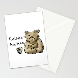 Bearly Awake Funny Pun Stationery Cards