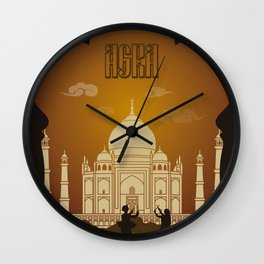Agra vintage poster travel Wall Clock