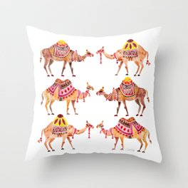 Camel Train Throw Pillow