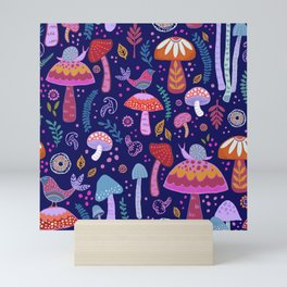 Magical Mushrooms on navy Mini Art Print