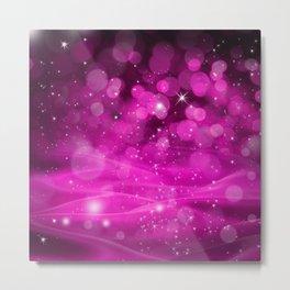 Whimsical Pink Glowing Christmas Sparkles Bokeh Festive Holiday Art Metal Print