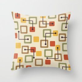 Midcentury 1950s Tiles & Squares Autumn Throw Pillow