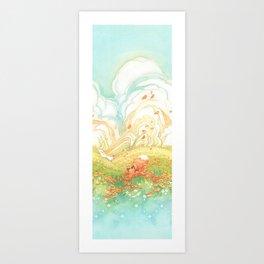 Meadow Fox Repeat Pattern Art Print