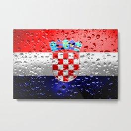 Flag of Croatia - Raindrops Metal Print