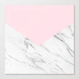 pink and white geometric marble Canvas Print