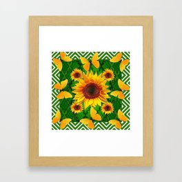 Green Yellow Butterflies Sunflowers Flowers  Art Framed Art Print