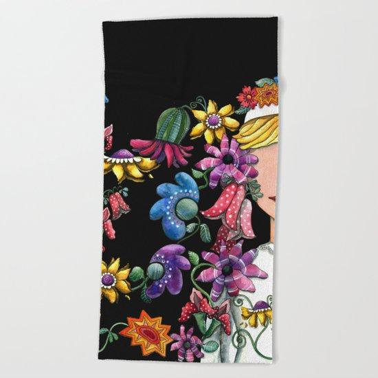 I Love the Flower Girl 2 Beach Towel