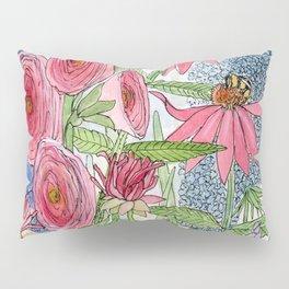 Summer Flowers Watercolor  Pillow Sham