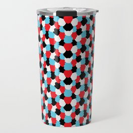 Catchy Artistic Pattern from Brush Blots in Black, White, Red and Blue Travel Mug
