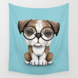Cute English Bulldog Puppy Wearing Glasses on Blue Wall Tapestry