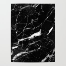 modern chic minimalist abstract black marble Poster