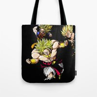 dragonball z Tote Bags featuring Broly Dragonball Z by bernardtime