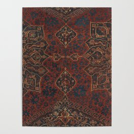 Boho Chic Dark V // 17th Century Colorful Medallion Red Blue Green Brown Ornate Accent Rug Pattern Poster