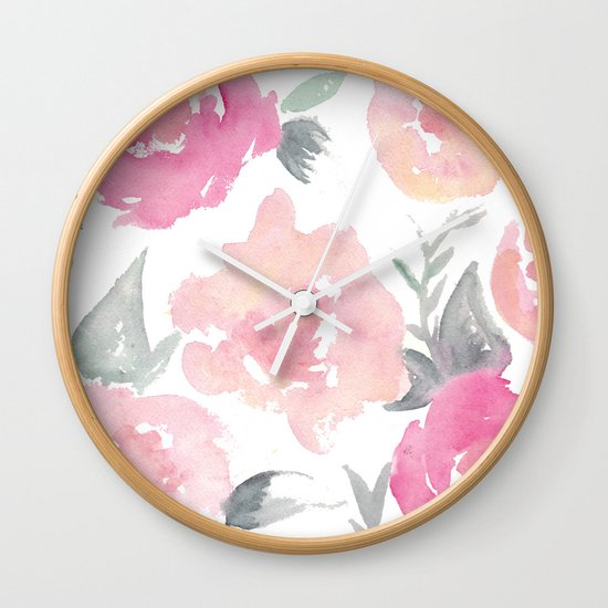 Wall Clock Floral Design : Muted floral watercolor design wall clock by jenna kutcher