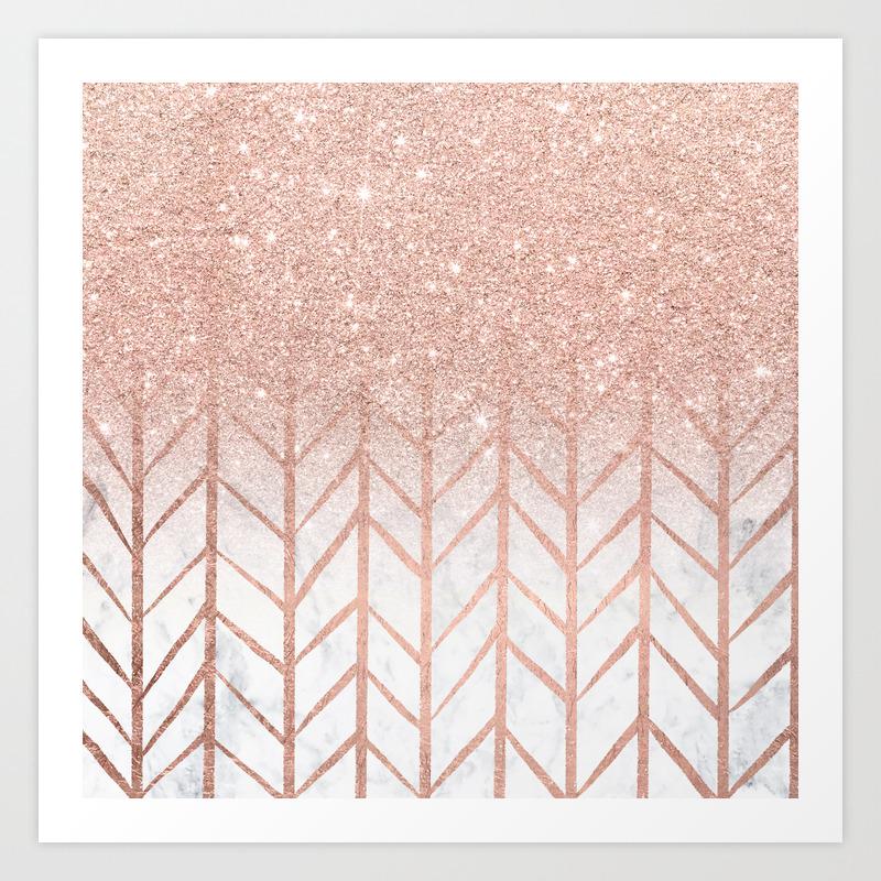 Modern Rose Gold Glitter Ombre Herringbone Chevron Pattern On White Marble Art Print By Girlytrend Society6