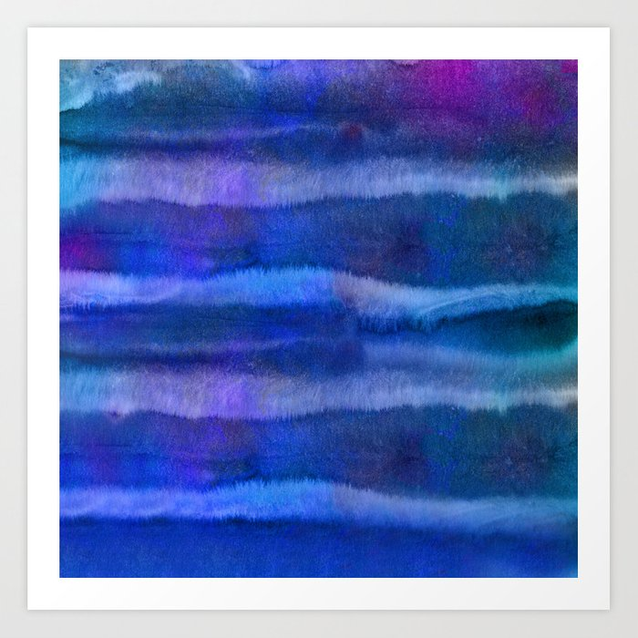 Blue Abstract Watercolor Striped Painting Art Print