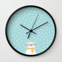 Hipster Polar Bear 1 Wall Clock