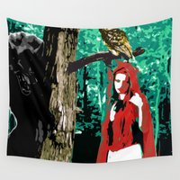 red riding hood Wall Tapestries featuring Little Red Riding Hood by Jessica Slater Design & Illustration