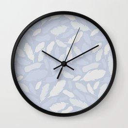Feather Pattern Light Blue Wall Clock