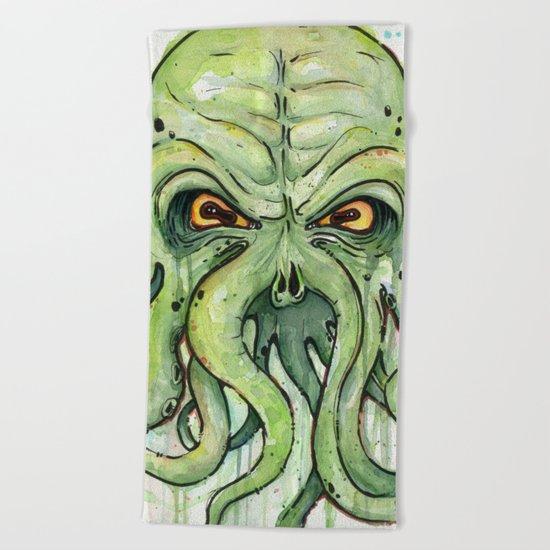 Cthulhu HP Lovecraft Green Monster Tentacles Beach Towel
