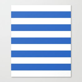True Blue - solid color - white stripes pattern Canvas Print