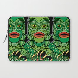Creature from the Black Lagoon in blanched green on black Laptop Sleeve