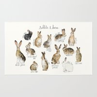 rabbits Area & Throw Rugs featuring Rabbits & Hares by Amy Hamilton