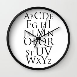 ABC Alphabet Typography Wall Clock