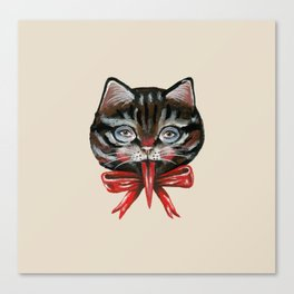 Cute Krampus cat face with red bow Canvas Print