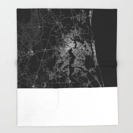 Jacksonville map Throw Blanket