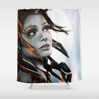 human Shower Curtains featuring Human by Ignacio de la Calle
