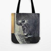 gorilla Tote Bags featuring gorilla by Hugo Barros