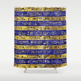Golden Egyptian  hieroglyphs pattern on  blue Shower Curtain