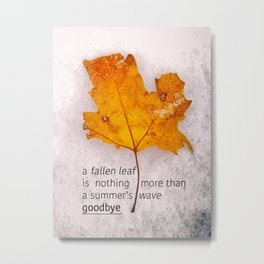 Autumn. Fallen leaf on dirty ice. Metal Print