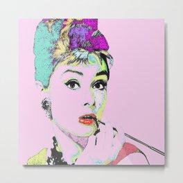 Classic Audrey Hepburn in Retro Style Metal Print