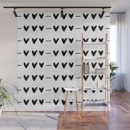 White and black doodle hearts and dashes pattern Wall Mural