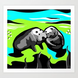 MANATEE LOVE in Blue Green Underwater Art Print