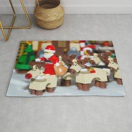 Santa Prepares reindeers Rug