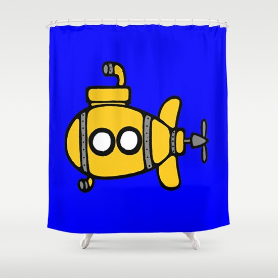 Cute Yellow Submarine Shower Curtain