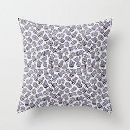 Modern purple black lavender cactus floral pattern Throw Pillow