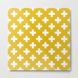 Mustard Yellow Plus Sign Pattern Metal Print